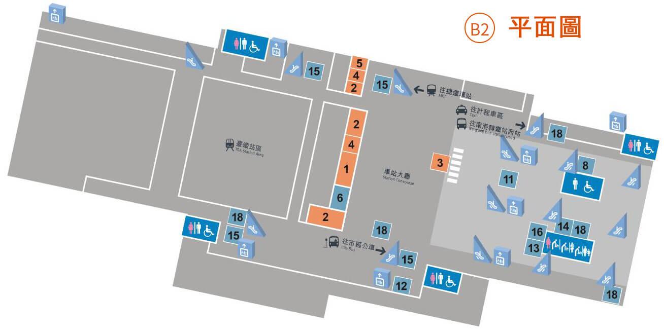南港高鐵站平面圖-B2