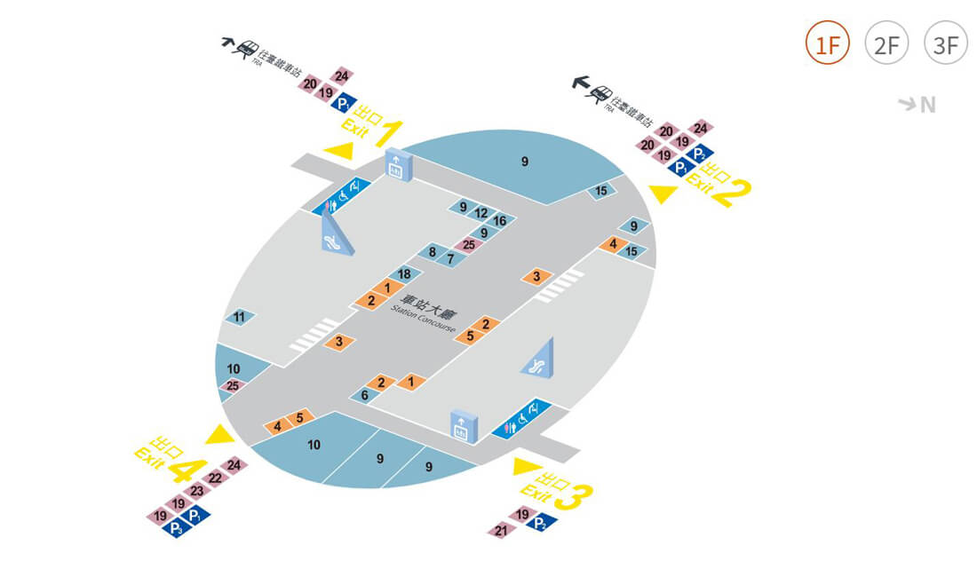 新竹高鐵站平面圖 1F